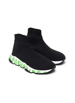 Detail View - Click To Enlarge - BALENCIAGA - Speed' graffiti sole knit sneakers