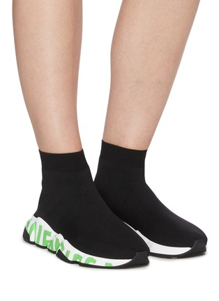 Figure View - Click To Enlarge - BALENCIAGA - Speed' graffiti sole knit sneakers