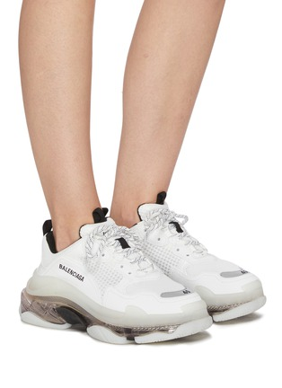 Figure View - Click To Enlarge - BALENCIAGA - Triple S' Duo-tone Translucent Platform Sole Sneakers
