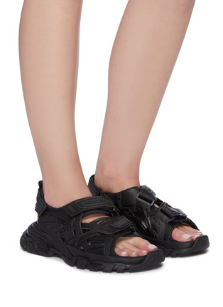Figure View - Click To Enlarge - BALENCIAGA - Logo embossed velcro strap track sandals
