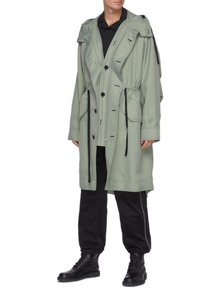 Figure View - Click To Enlarge - OAMC - Drawstring waist fishtail parka
