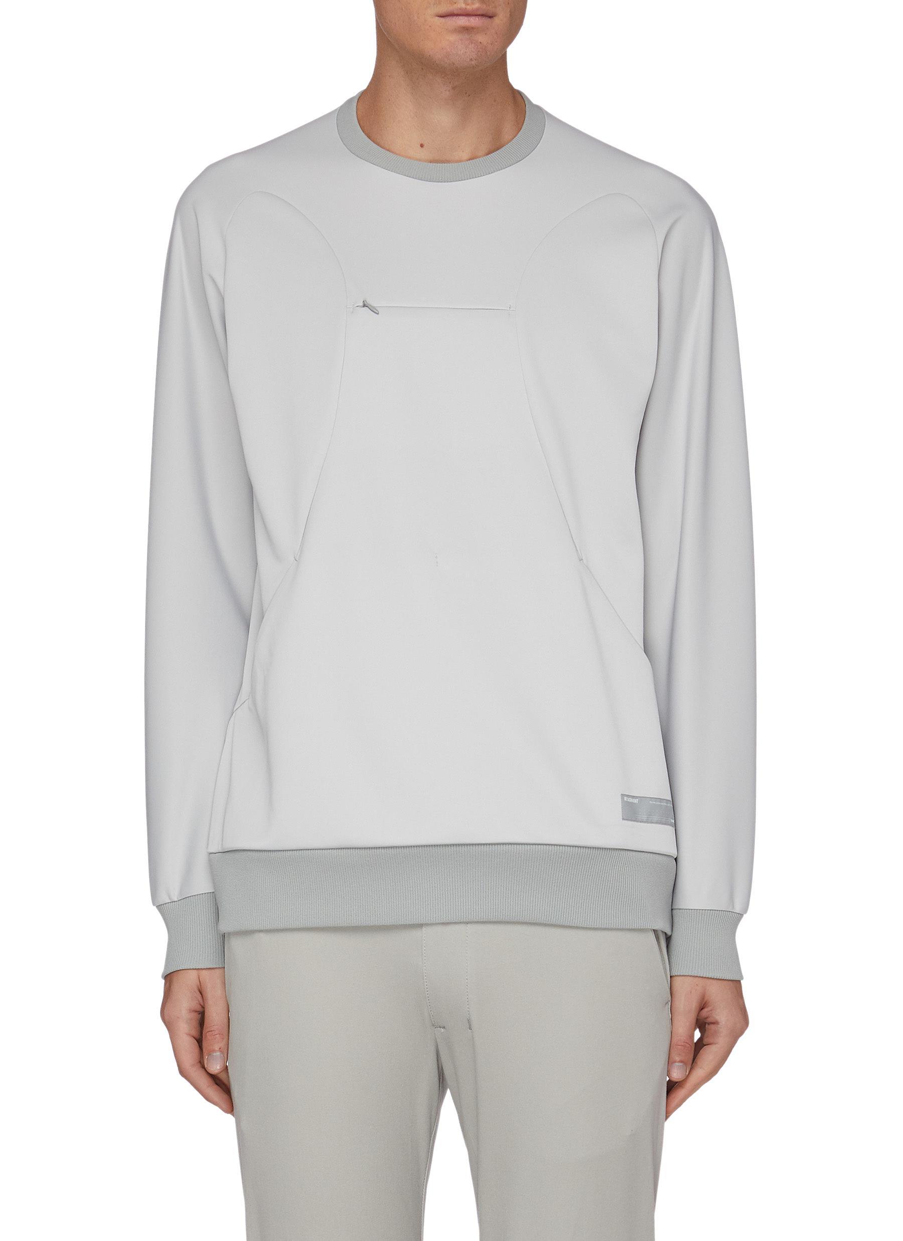 Attachment Zip Chest Sweatshirt In Grey