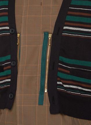 - KOLOR - Striped Cardigan Overlay Glen Check Long Coat