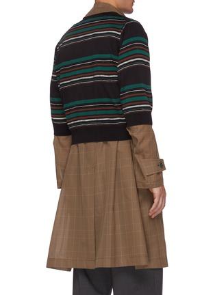 Back View - Click To Enlarge - KOLOR - Striped Cardigan Overlay Glen Check Long Coat