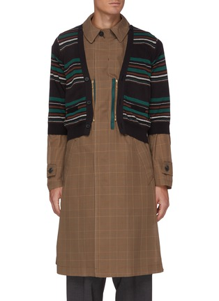 Main View - Click To Enlarge - KOLOR - Striped Cardigan Overlay Glen Check Long Coat