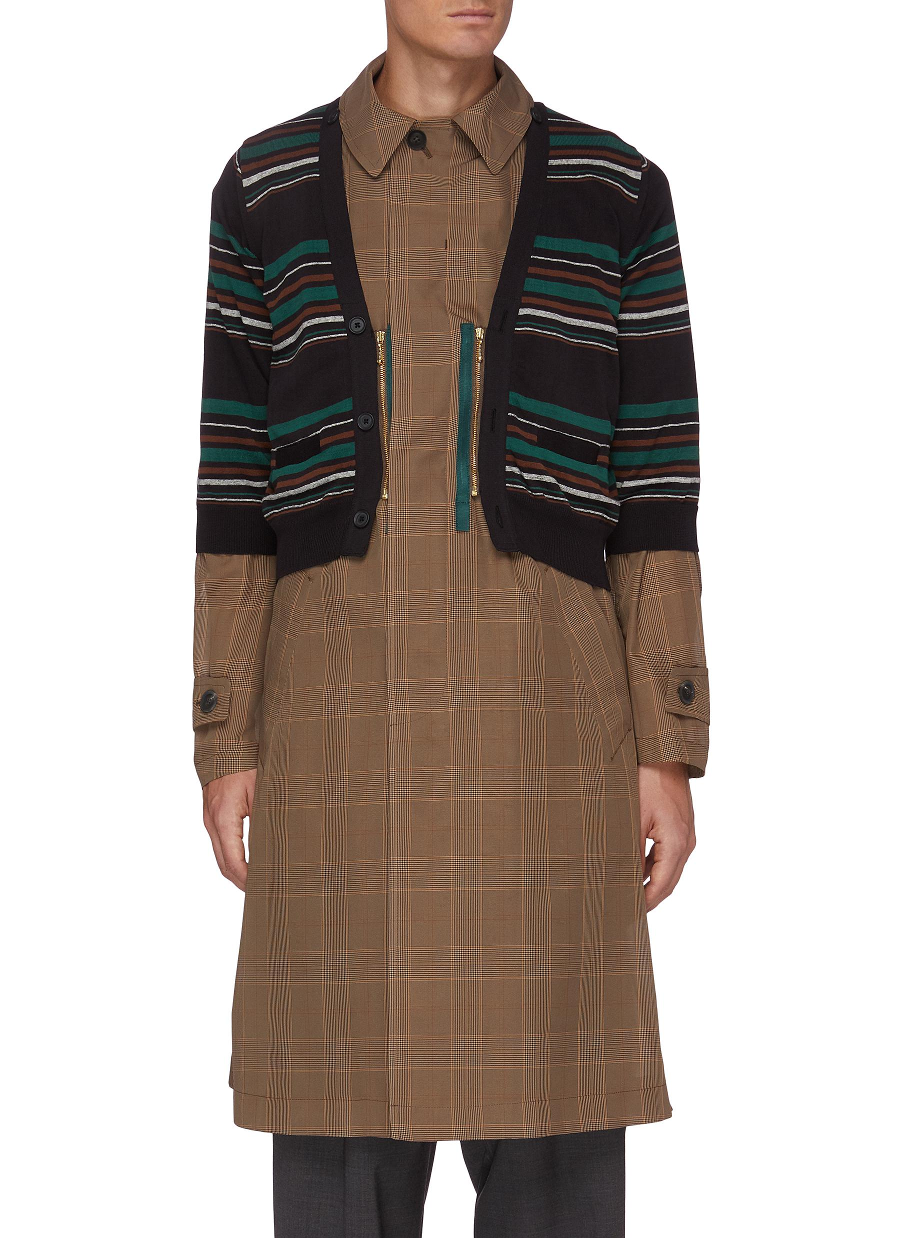 Striped Cardigan Overlay Glen Check Long Coat - KOLOR - Modalova