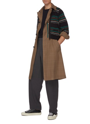 Figure View - Click To Enlarge - KOLOR - Striped Cardigan Overlay Glen Check Long Coat