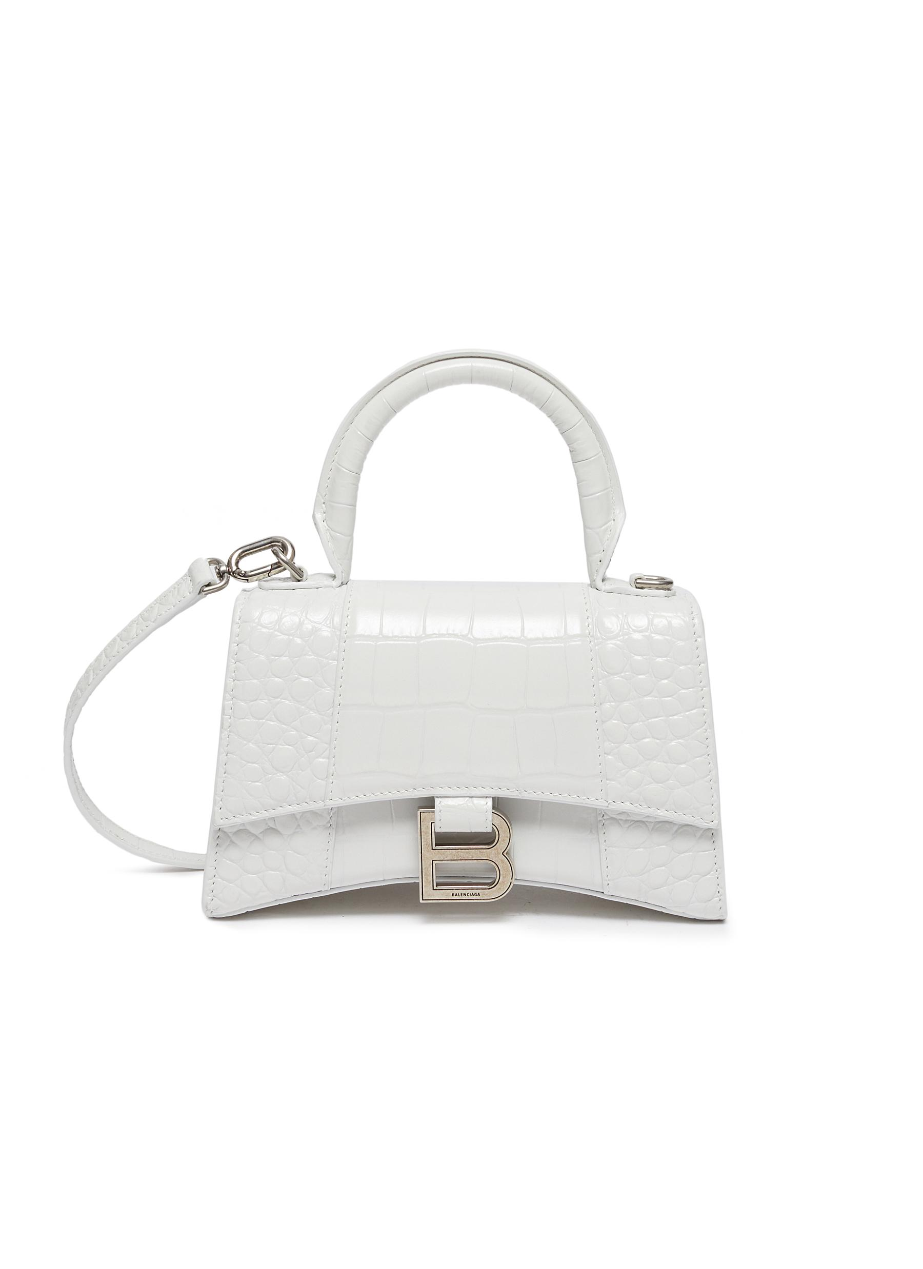 Balenciaga 'hourglass Xs' Croc Embossed Leather Shoulder Bag In White