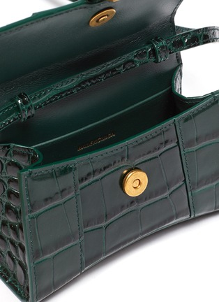 Detail View - Click To Enlarge - BALENCIAGA - 'Hourglass mini' croc-embossed leather shoulder bag