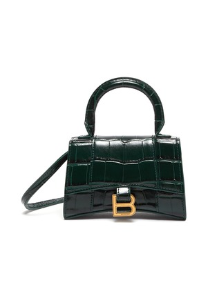 Main View - Click To Enlarge - BALENCIAGA - 'Hourglass mini' croc-embossed leather shoulder bag