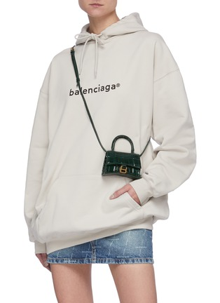 Figure View - Click To Enlarge - BALENCIAGA - 'Hourglass mini' croc-embossed leather shoulder bag