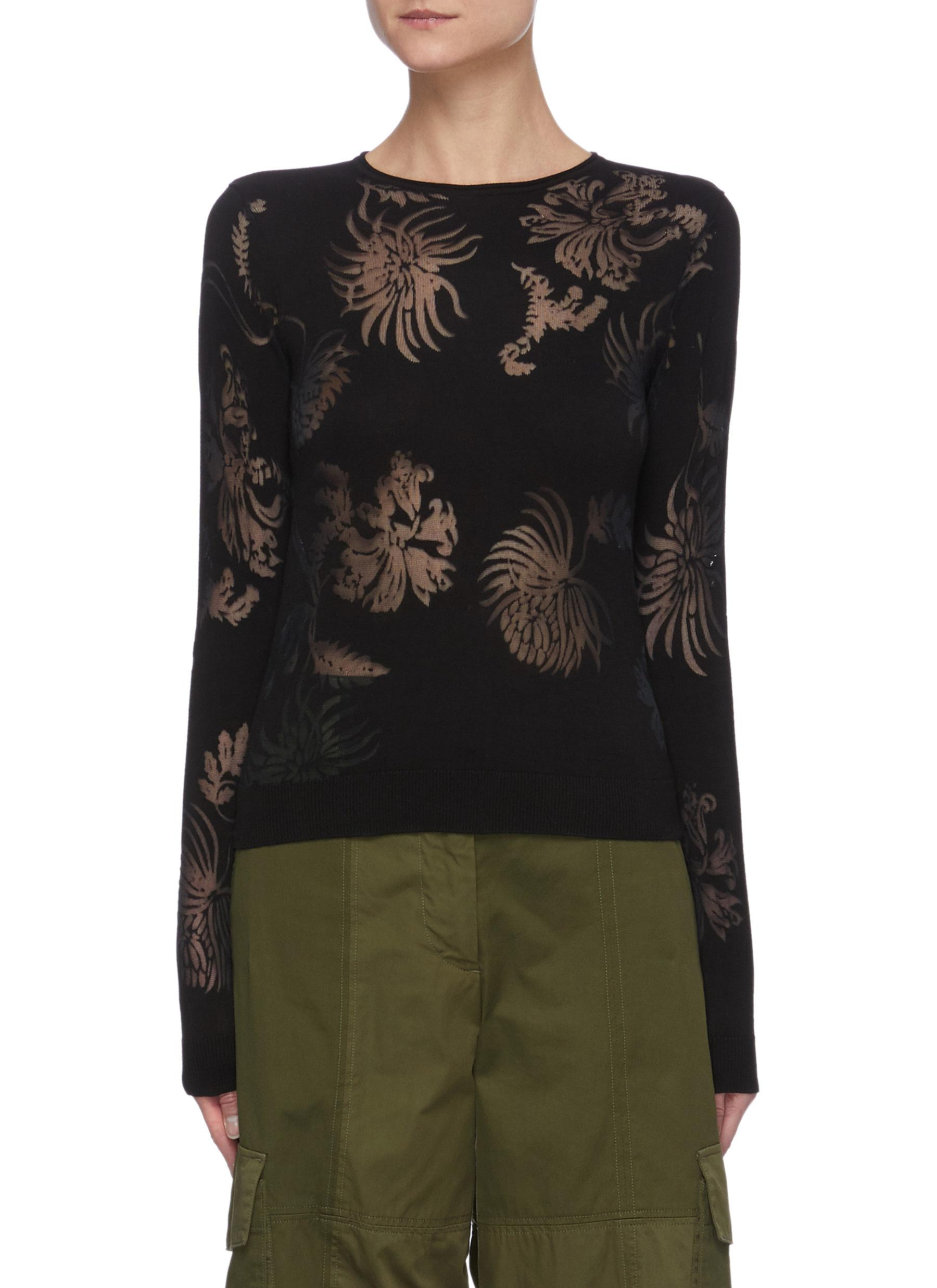 Jw Anderson Clothing SHEER FLORAL INSERT KNIT TOP