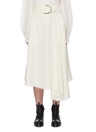 Main View - Click To Enlarge - JW ANDERSON - Raw asymmetric hem D ring belt skirt