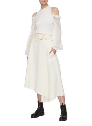 Figure View - Click To Enlarge - JW ANDERSON - Raw asymmetric hem D ring belt skirt