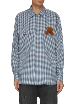 Main View - Click To Enlarge - DOUBLET - Embroidered puppet Forever My Friend slogan checked shirt