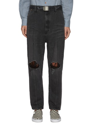 Main View - Click To Enlarge - DOUBLET - Pleated distressed jeans