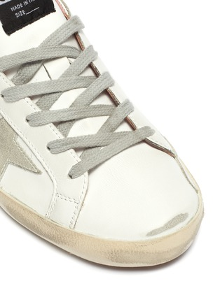 Detail View - Click To Enlarge - GOLDEN GOOSE - 'Super-Star' Laminated Heel Tab Distressed Leather Sneakers