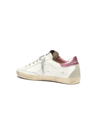 - GOLDEN GOOSE - 'Super-Star' Laminated Heel Tab Distressed Leather Sneakers