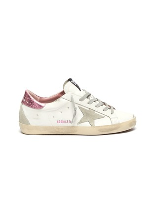 Main View - Click To Enlarge - GOLDEN GOOSE - 'Super-Star' Laminated Heel Tab Distressed Leather Sneakers
