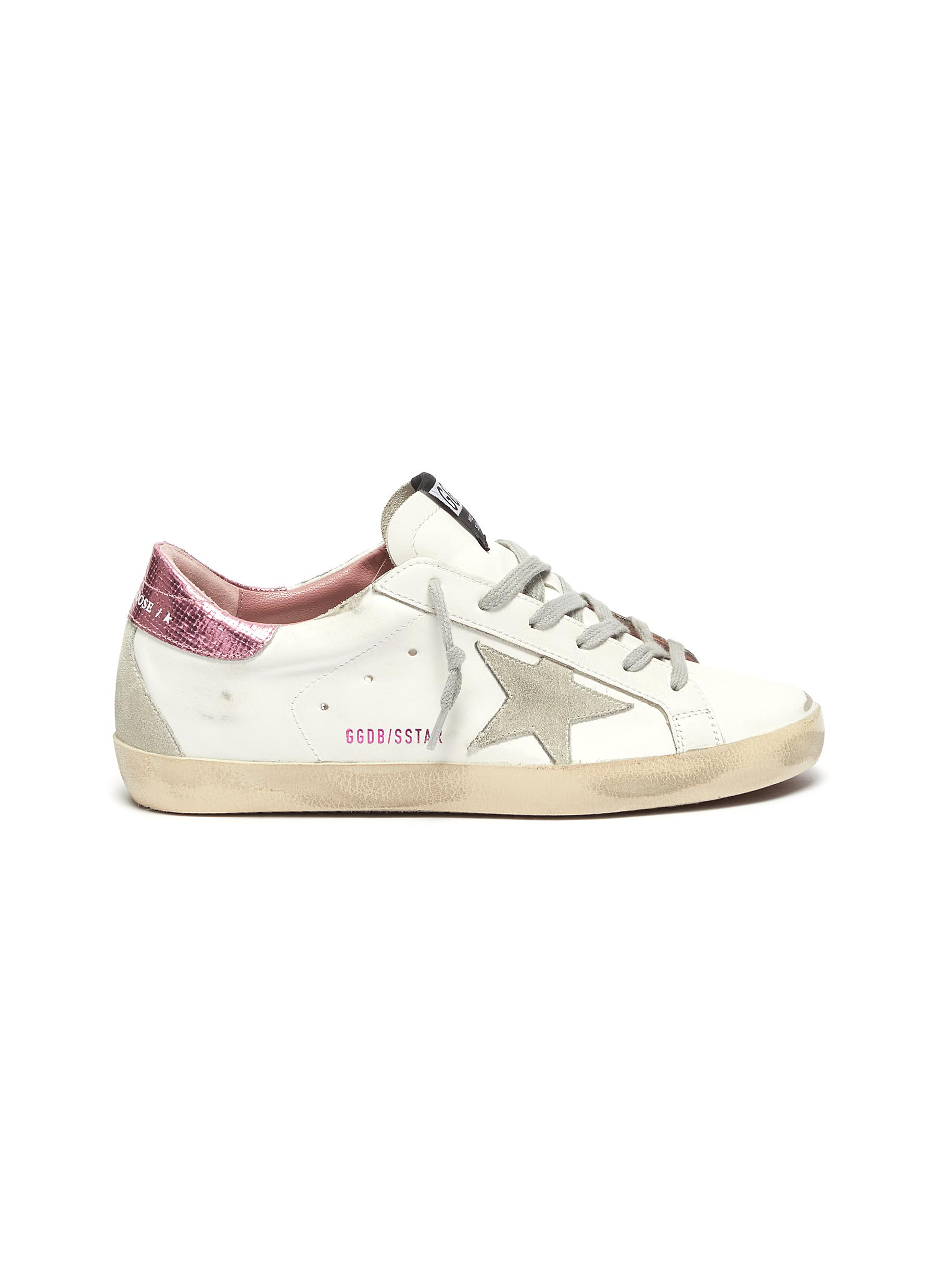 'Super-Star' Laminated Heel Tab Distressed Leather Sneakers