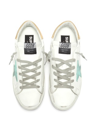Detail View - Click To Enlarge - GOLDEN GOOSE - 'Super-Star' Metallic Heel Tab Distressed Leather Sneakers