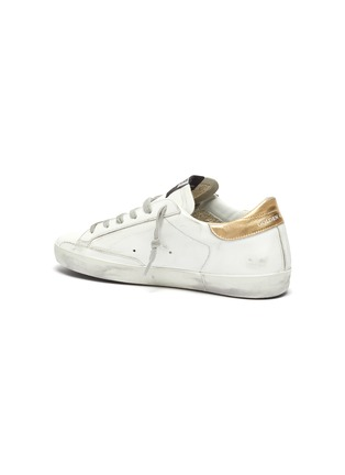 - GOLDEN GOOSE - 'Super-Star' Metallic Heel Tab Distressed Leather Sneakers