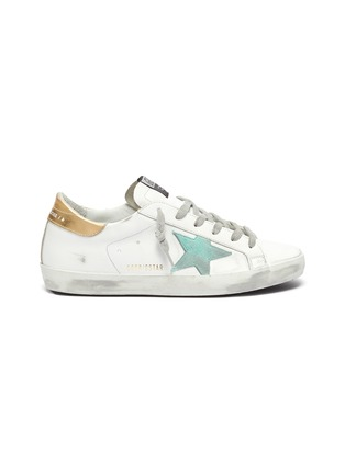 Main View - Click To Enlarge - GOLDEN GOOSE - 'Super-Star' Metallic Heel Tab Distressed Leather Sneakers