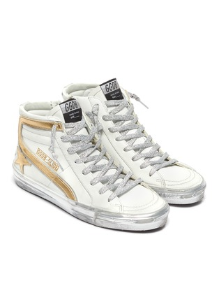 Detail View - Click To Enlarge - GOLDEN GOOSE - 'Slide' Metallic Overlay Distressed High Top Leather Sneakers