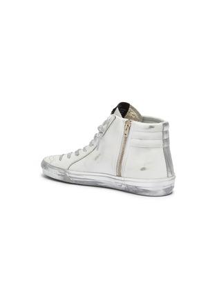 - GOLDEN GOOSE - 'Slide' Metallic Overlay Distressed High Top Leather Sneakers