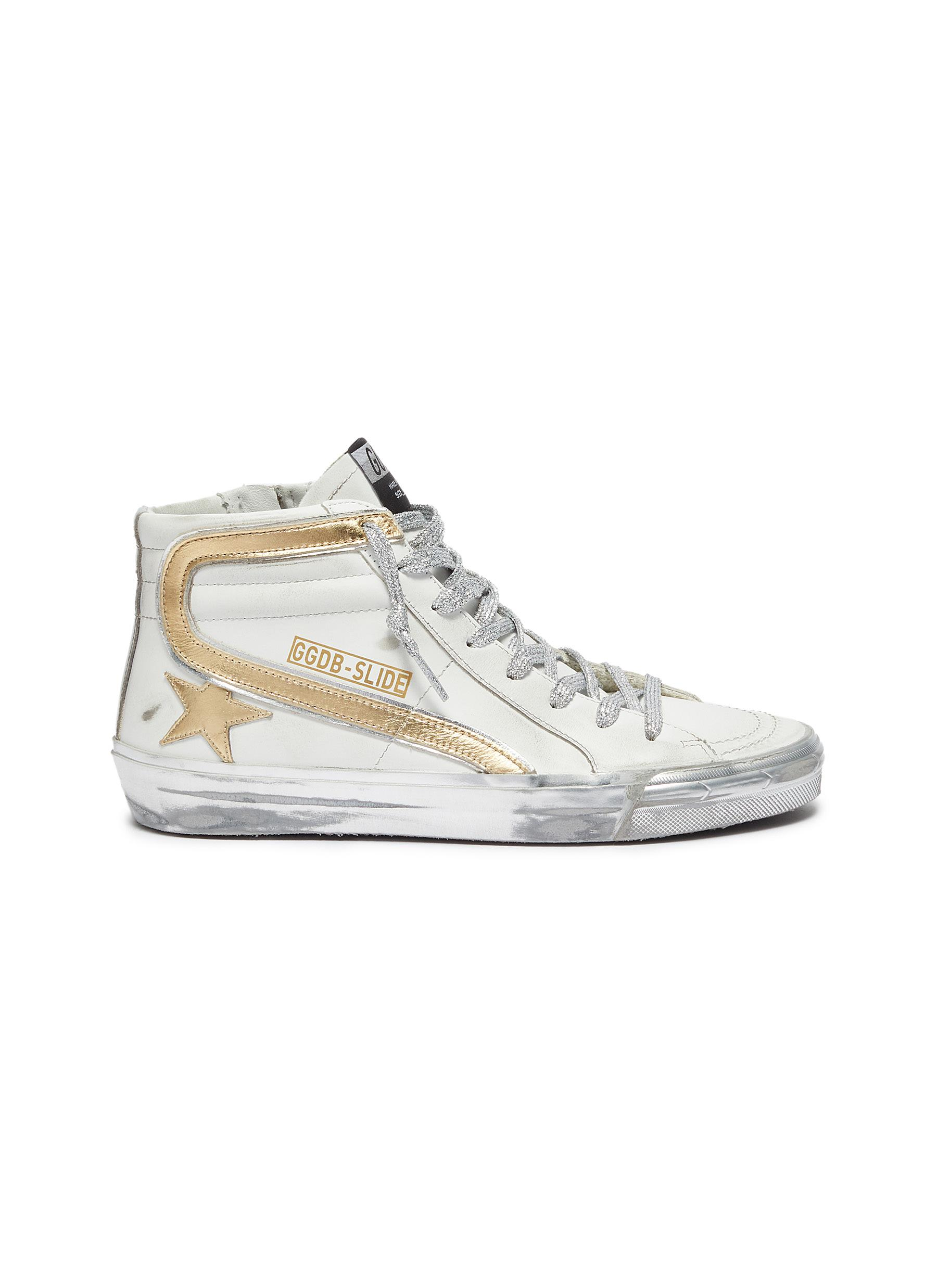 'Slide' Metallic Overlay Distressed High Top Leather Sneakers