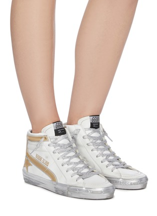 Figure View - Click To Enlarge - GOLDEN GOOSE - 'Slide' Metallic Overlay Distressed High Top Leather Sneakers
