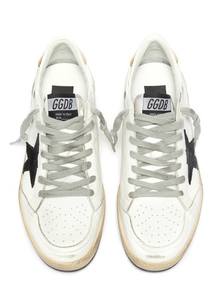 Detail View - Click To Enlarge - GOLDEN GOOSE - 'Ball Star' Logo Print Distressed Leather Sneakers