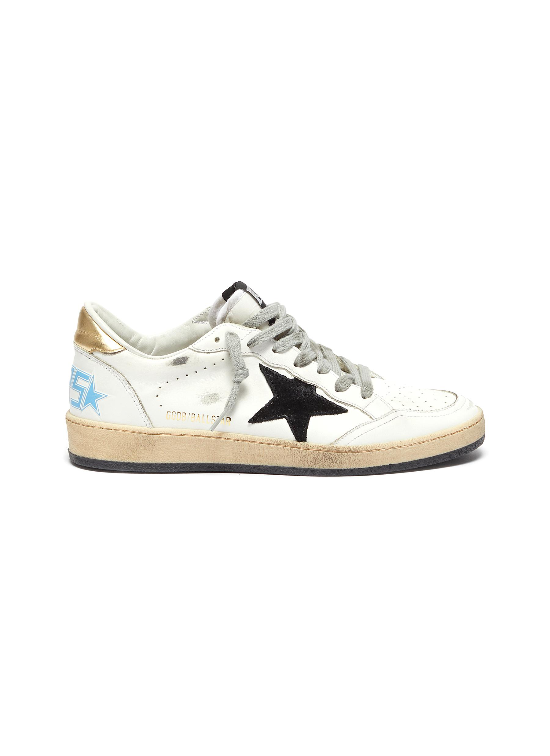 'Ball Star' Logo Print Distressed Leather Sneakers
