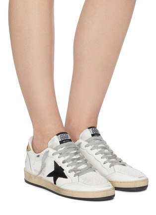 Figure View - Click To Enlarge - GOLDEN GOOSE - 'Ball Star' Logo Print Distressed Leather Sneakers