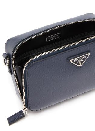 Detail View - Click To Enlarge - PRADA - Logo Plaque Leather Messenger Bag