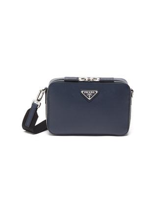 Main View - Click To Enlarge - PRADA - Logo Plaque Leather Messenger Bag