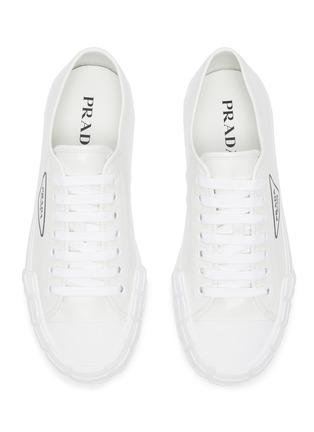 Detail View - Click To Enlarge - PRADA - Logo Print Low Top Leather Sneakers
