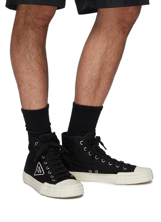 Figure View - Click To Enlarge - PRADA - Logo Print High Top Lace Up Sneakers