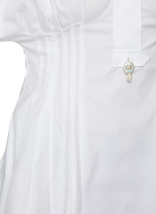 - OSCAR DE LA RENTA - Puff Sleeve Cinch Waist Cotton Blend Blouse