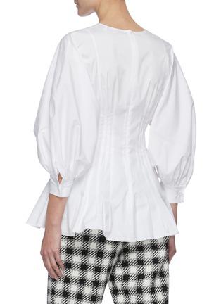 Back View - Click To Enlarge - OSCAR DE LA RENTA - Puff Sleeve Cinch Waist Cotton Blend Blouse