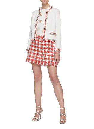 Figure View - Click To Enlarge - OSCAR DE LA RENTA - Fray Hem Check Virgin Wool Shorts