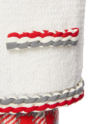 - OSCAR DE LA RENTA - Contrast Stripe Crewneck Wool Cotton Blend Jacket