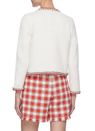 Back View - Click To Enlarge - OSCAR DE LA RENTA - Contrast Stripe Crewneck Wool Cotton Blend Jacket