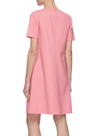 Back View - Click To Enlarge - OSCAR DE LA RENTA - Cut Out Floral Appliqué Virgin Wool Blend Mini Dress