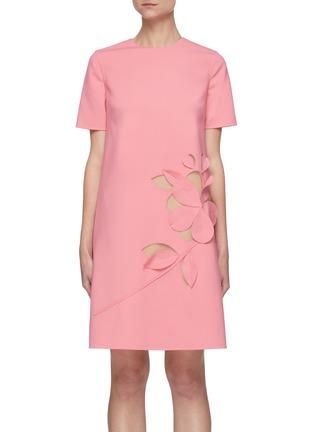 Main View - Click To Enlarge - OSCAR DE LA RENTA - Cut Out Floral Appliqué Virgin Wool Blend Mini Dress