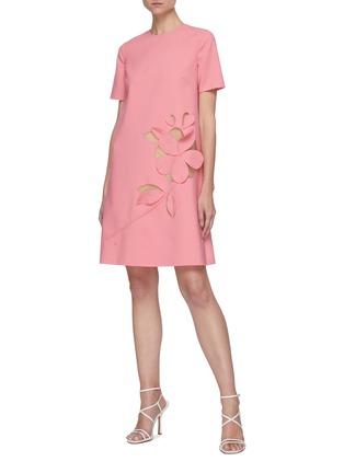 Figure View - Click To Enlarge - OSCAR DE LA RENTA - Cut Out Floral Appliqué Virgin Wool Blend Mini Dress