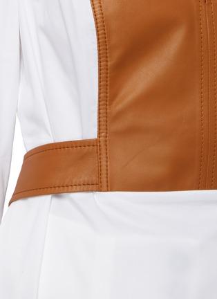 - OSCAR DE LA RENTA - Leather panel shirt
