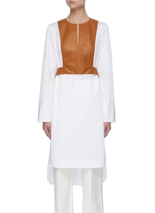 Main View - Click To Enlarge - OSCAR DE LA RENTA - Leather panel shirt