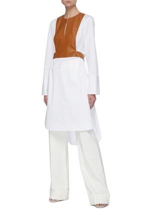 Figure View - Click To Enlarge - OSCAR DE LA RENTA - Leather panel shirt