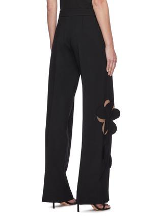 Back View - Click To Enlarge - OSCAR DE LA RENTA - Cut Out Floral Appliqué Wide Leg Virgin Wool Blend Pants